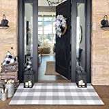 Buffalo Plaid Check Outdoor Rug Grey 2' x 4.3' Farmhouse Rug Hallway Runner Checkered Washable Runner for Laundry/Bathroom/Be