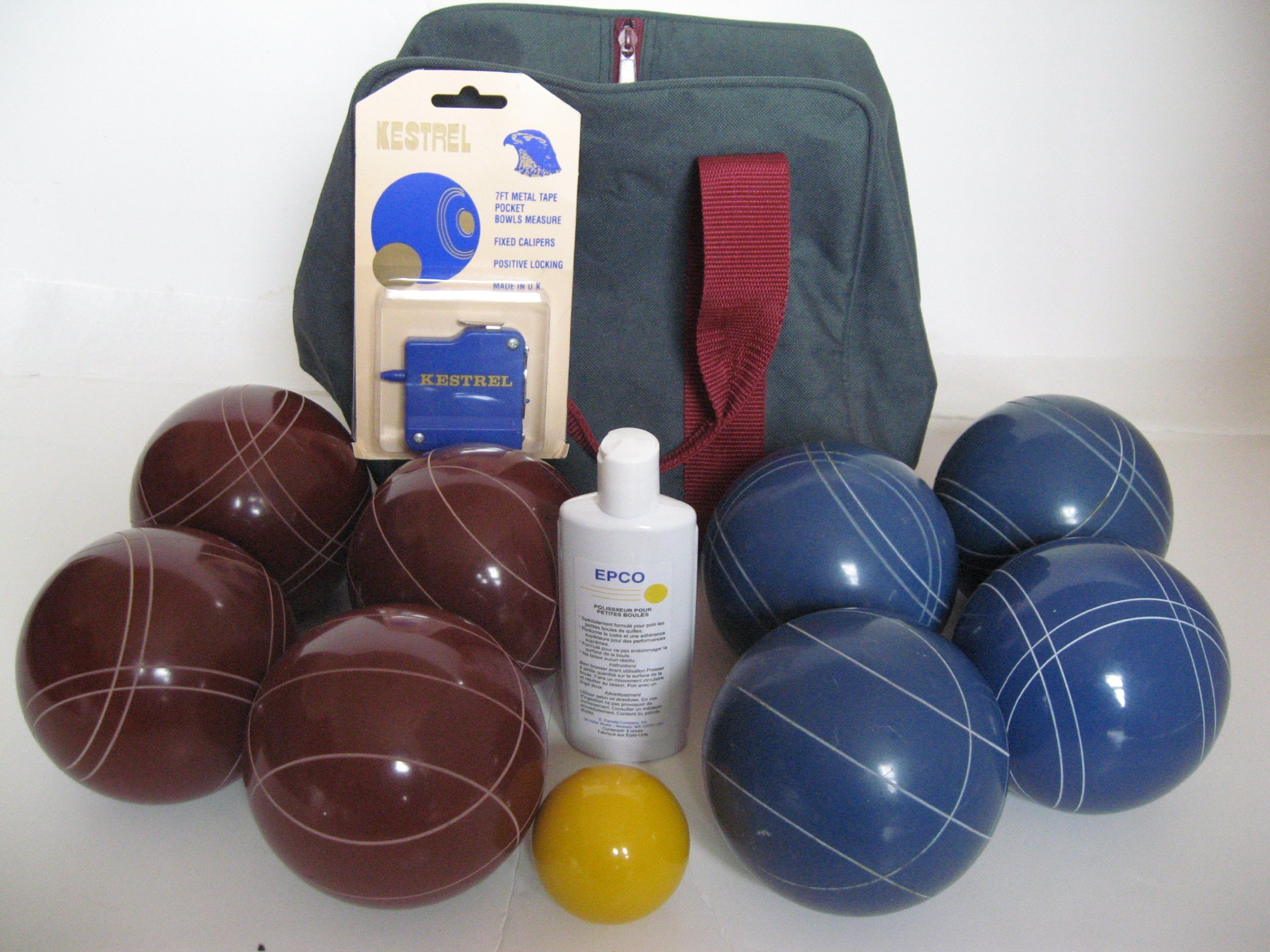 Premium Quality Basic Epco Bocce Package - 110mm Red and Blue Balls, Quality Nylon Bag, Measu...