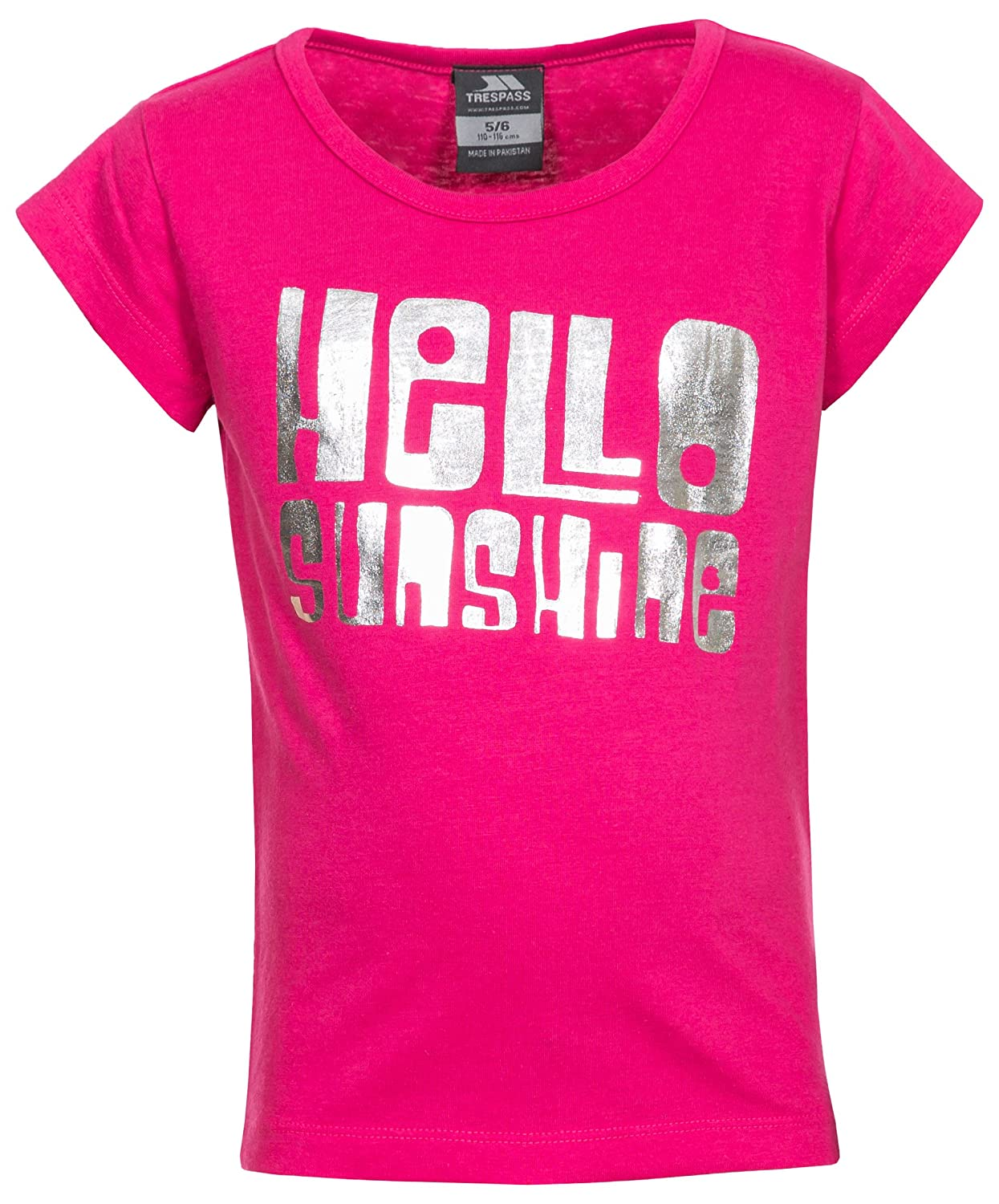 Trespass Kids Hello T-Shirt with Cool Frontal Print for Children Girls//Toddlers Ages 2-12 for Outdoor//Fun//Sports//Leisure