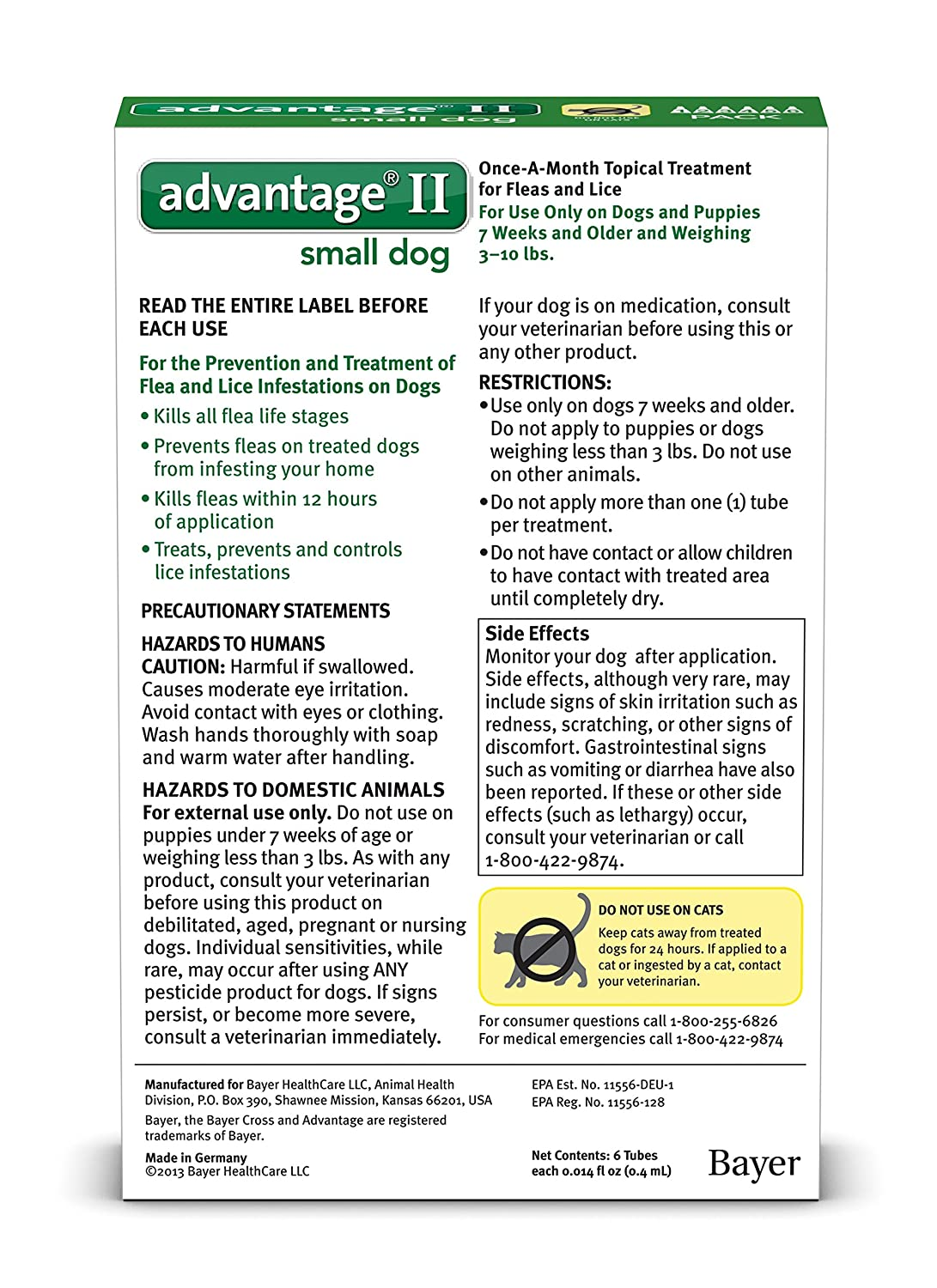 Amazon bayer advantage ii flea and lice treatment for small amazon bayer advantage ii flea and lice treatment for small dogs 3 10 lb 4 doses pet flea drops pet supplies nvjuhfo Image collections