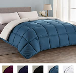 Seward Park All Season Down Alternative Quilted Comforter, Hypoallergenic, Lightweight, Plush Microfiber Fill, Duvet Insert or Summer Comforter, Teal/White, King Size