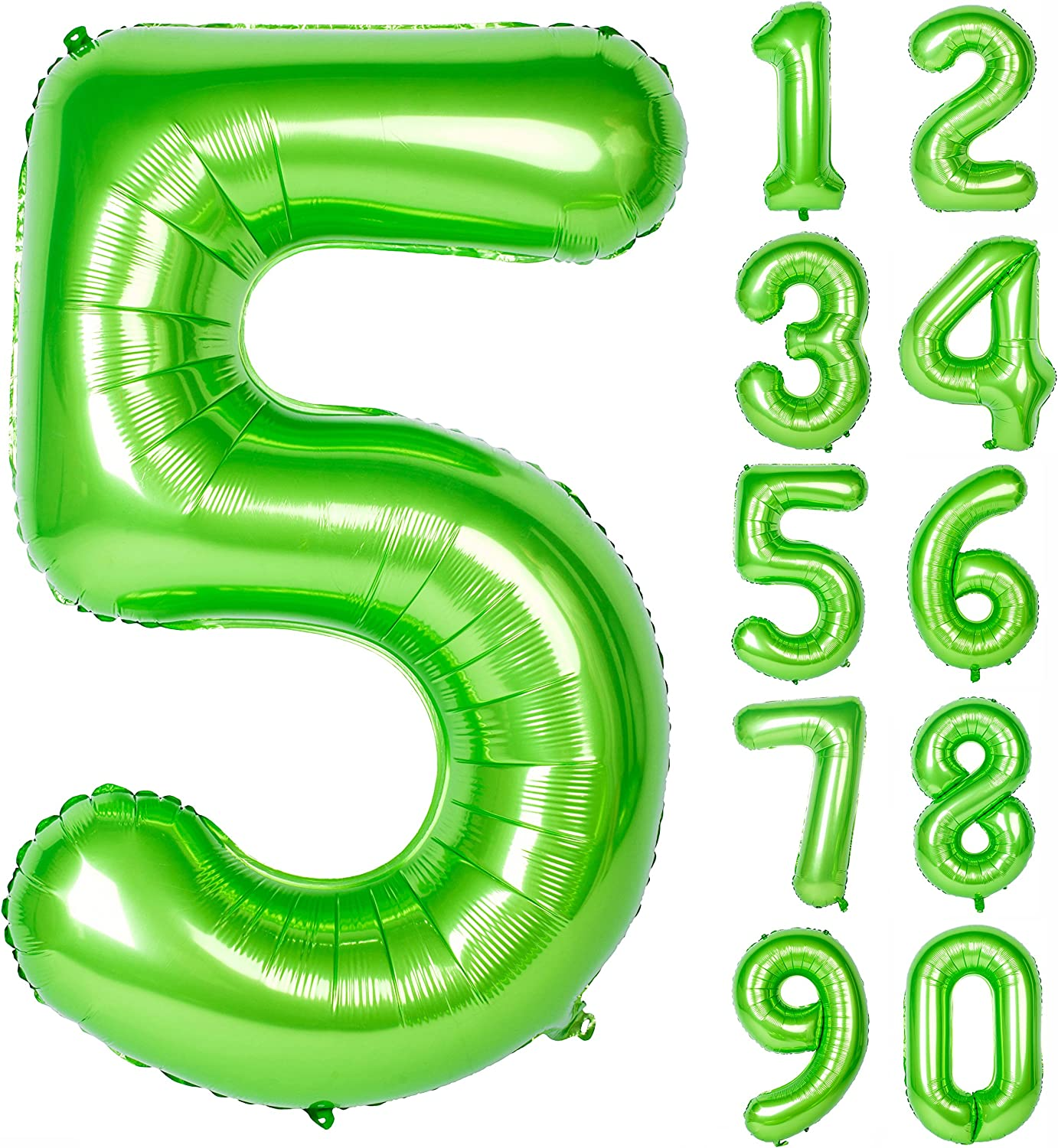 40 Inch Green Large Numbers 0-9 Birthday Party Decorations Helium Foil Mylar Big Number Balloon Digital 5