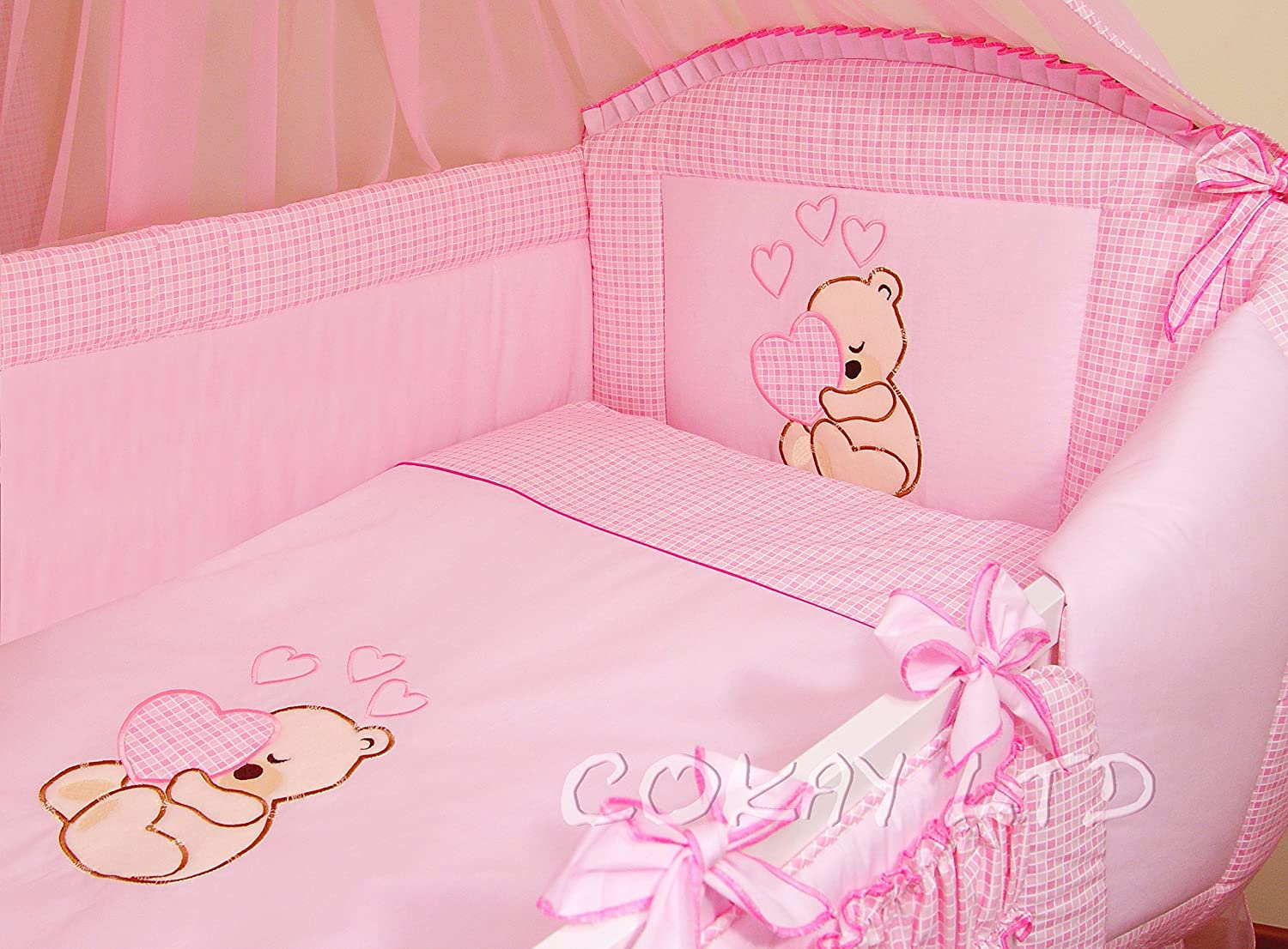 Luxury ALL ROUND NURSURY BUMPER/420cm long/Padded 4 Sided/Cot Bed PINK (Cream Hearts) COKAY LTD