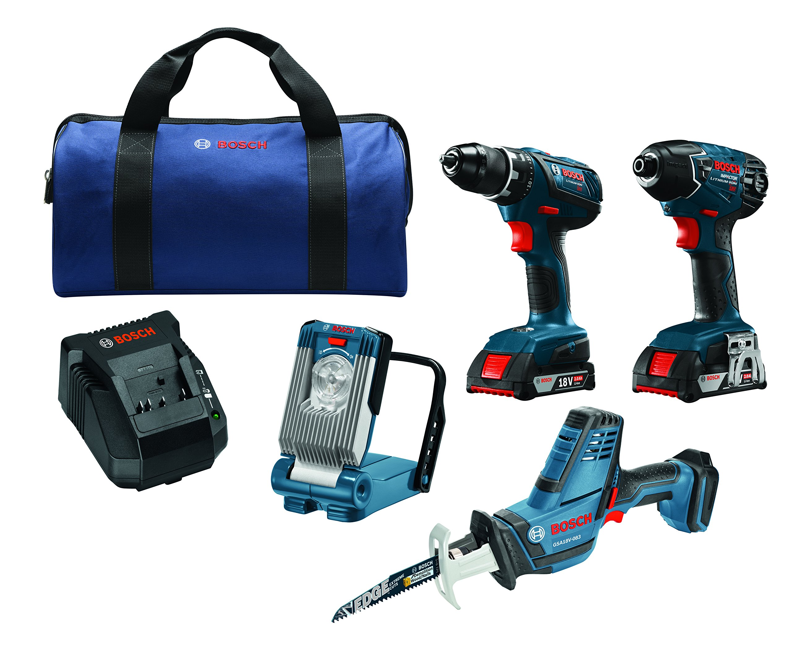 Bosch CLPK496A-181 18V Lithium-Ion 4-Tool Combo Kit with Compact Tough Drill Driver, Impact Driver, Compact Reciprocating Saw, LED Work Light & 2 Amp SlimPack Batteries