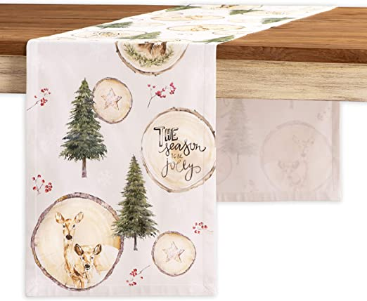 Aspero 14539223 Maison d Hermine Mountain Life 100/% Cotton Table Runner Double Layer 14.5 Inch by 108 Inch