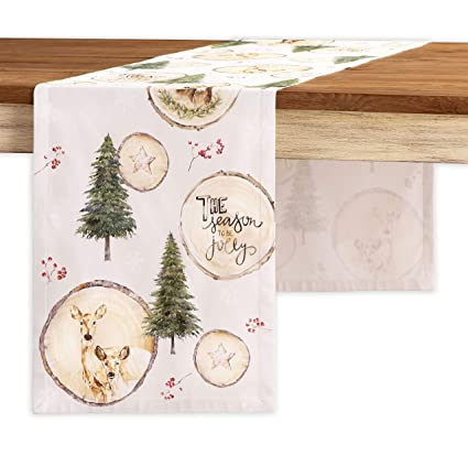 Maison d' Hermine Mountain Life 100% Cotton Table Runner - Single Layer 14.5 Inch by 108 Inch. Perfect for Thanksgiving and Christmas best Christmas table runners