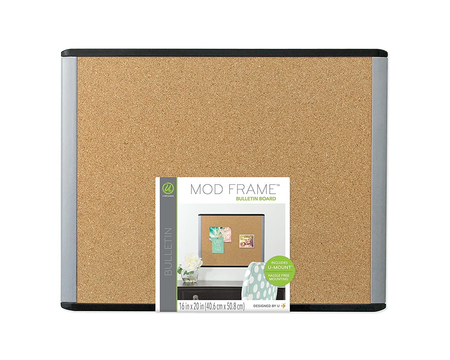 Cork Bulletin Board Amazoncom U Brands Mod Cork Bulletin Board 20 X 16 Inches