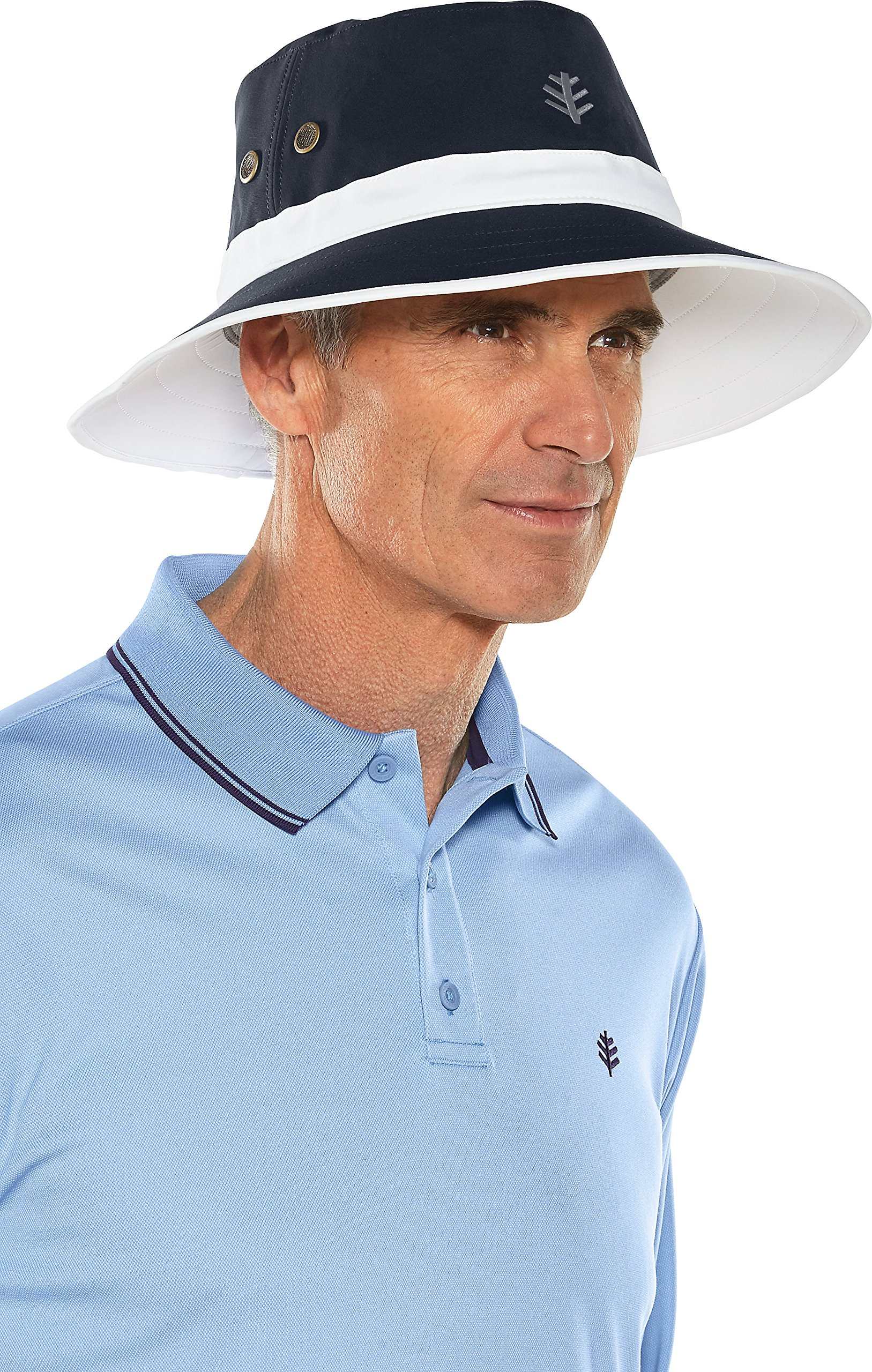 Coolibar UPF 50+ Men's Matchplay Golf Hat - Sun Protective (XX-Large- White/Navy)