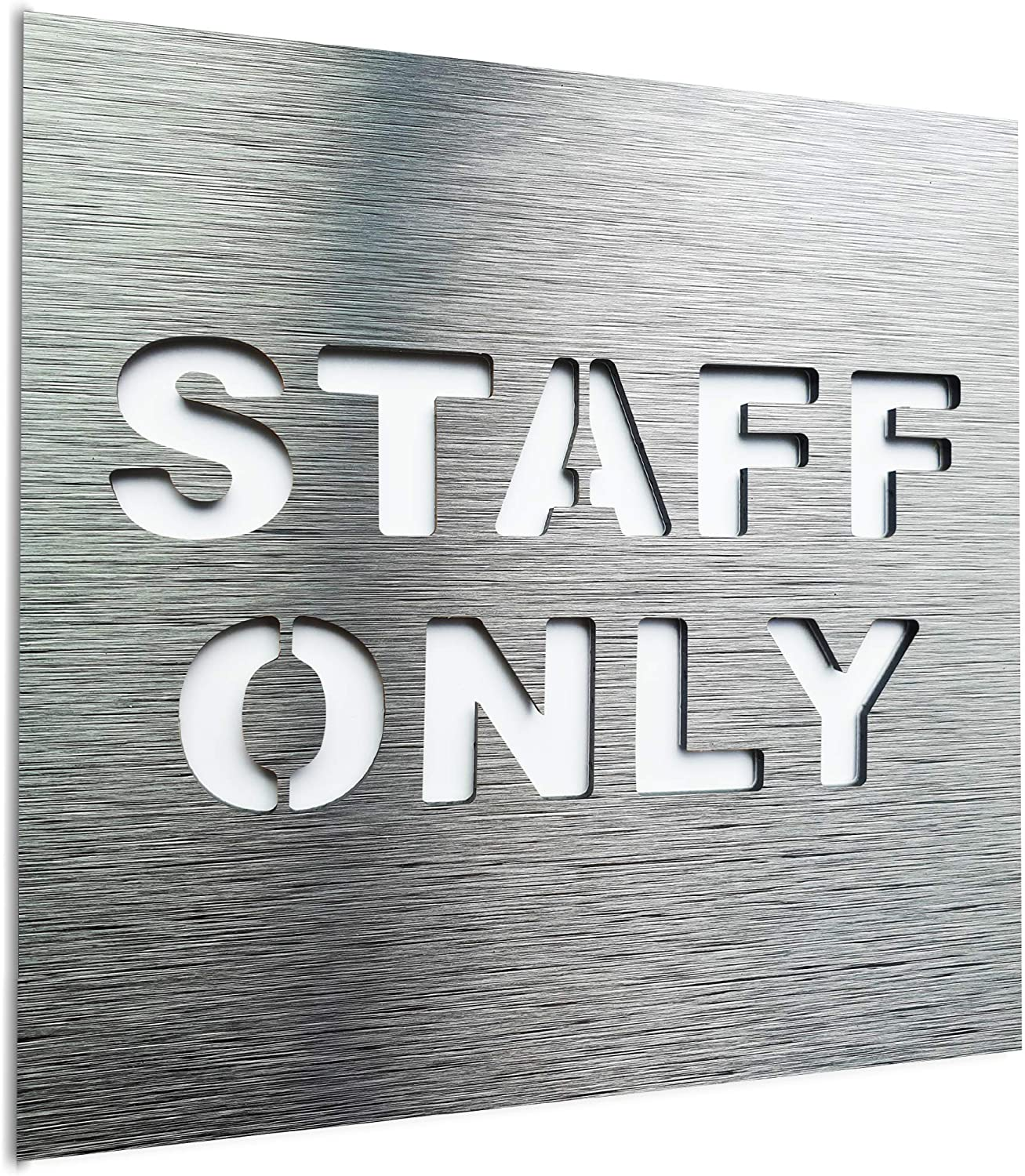 BSYDESIGN Aluminium Staff only Sign - Office Plaque for Business - Employees only Modern Signage - Authorized Personnel only Sign - Restricted Area Sign - Office Door Decoration (Silver)