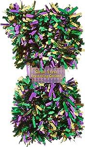 "Beistle Metallic Festooning Garland Party Accessory, Mardi Gras Decorations, 4"" x 15', Gold/Green/Purple,50281-GGP"