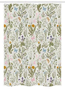 Ambesonne Floral Stall Shower Curtain, Vintage Garden Plants with Herbs Flowers Botanical Classic Design, Fabric Bathroom Decor Set with Hooks, 54 W x 78 L Inches, Beige Reseda Green Pink Blue