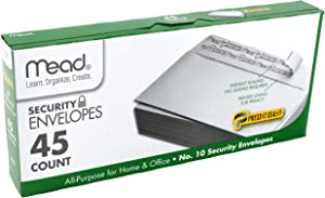 "Mead #10 Envelopes, Security, Press-it Seal-it, 4-1/8"" X 9-1/2"", White, 45 Per Box (75026)"