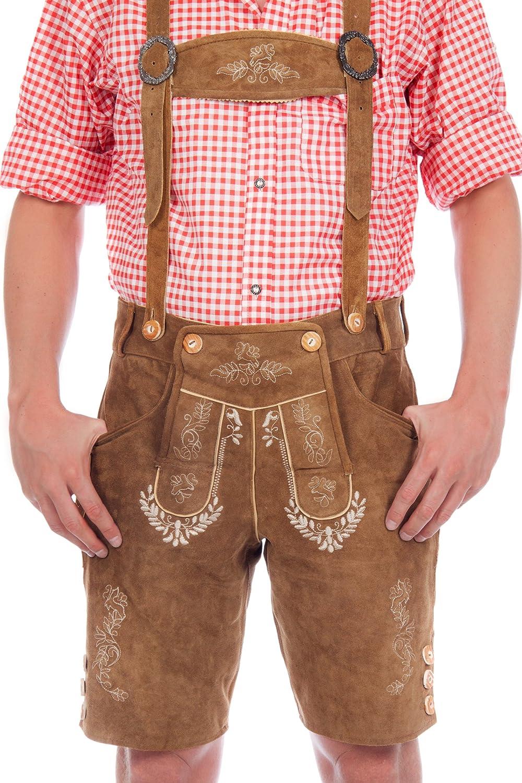 Vestito corto Lederhosen in pelle marrone chiaro con Giarrettiere Cattle suede Mis, 44-68