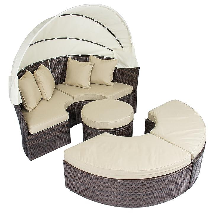 outdoor patio sofa mbel runde versenkbare himmelbett daybed brown wicker rattan amazonde garten - Runde Tagesliege Mit Baldachin