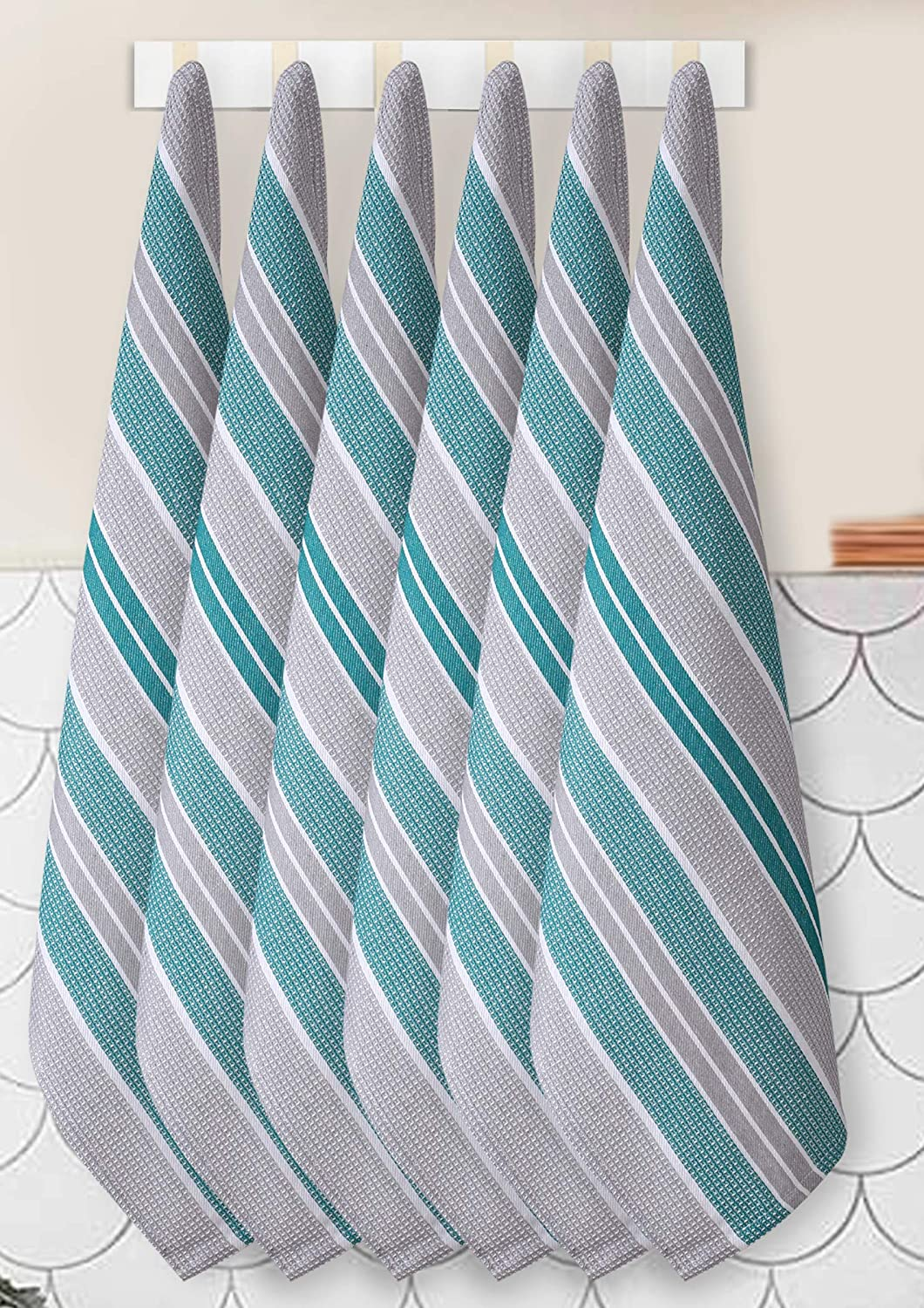6 Pack 100% Cotton Farmhouse Vintage Dish Towels Tea Towels Highly Absorbent Quick Dry Professional Grade with Hanging Loop - Honeycomb - 18x28 Inch - Teal Grey