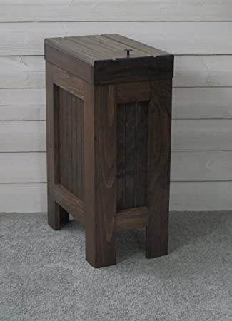 Wooden Wood Trash Bin Kitchen Garbage Can Rectangular 13 Gallon Solid Pine    Walnut Stain