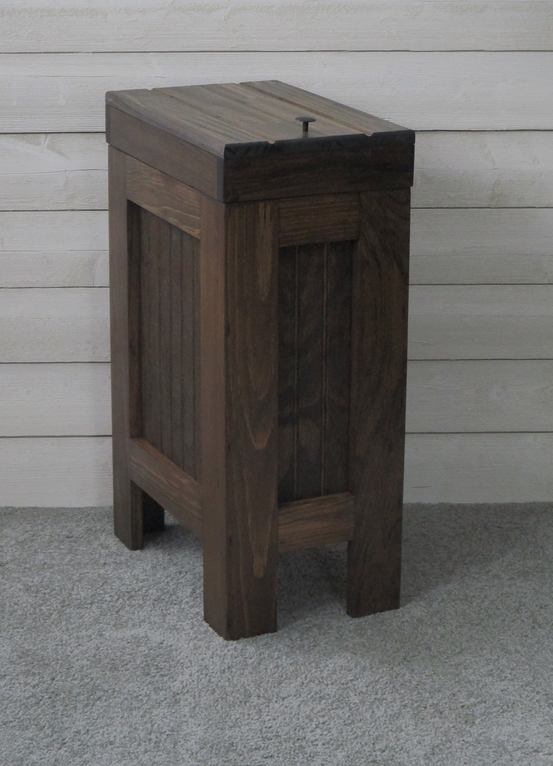 Wooden Wood Trash Bin Kitchen Garbage Can Rectangular 13 Gallon Solid Pine - Walnut Stain - Rustic - Metal Knob - Hand Made in USA