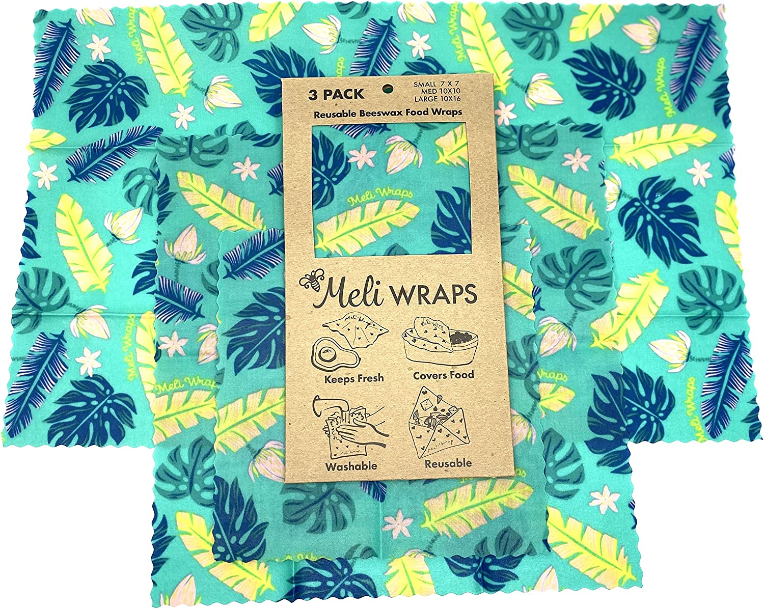 Meli Wraps Beeswax Wraps - Reusable Food Wrap Alternative to Plastic Wrap. Certified Organic Cotton, Made with Hawaiian Beeswax. 3-Pack includes sizes (SML) in Beautiful Original Prints