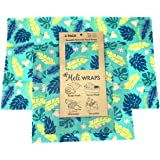 Meli Wraps 3 Pack Reusable Beeswax Food Wrap Alternative to Plastic Food Storage, Certified Organic Cotton, Bees Wax…