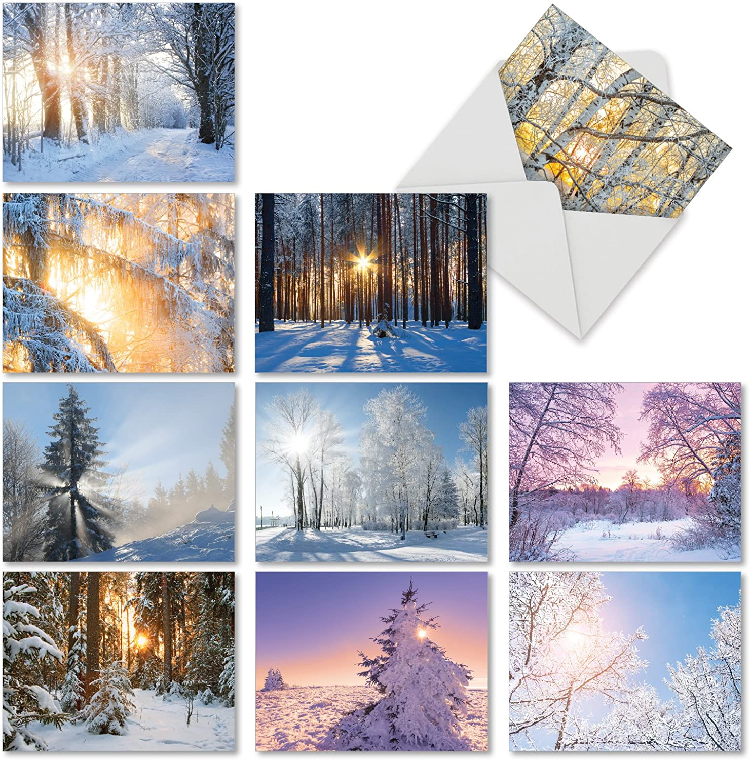 The Best Card Company - Christmas Sunrise - 10 Assorted Landscape Blank Xmas Cards with Envelopes (4 x 5.12 Inch) M6655XSB