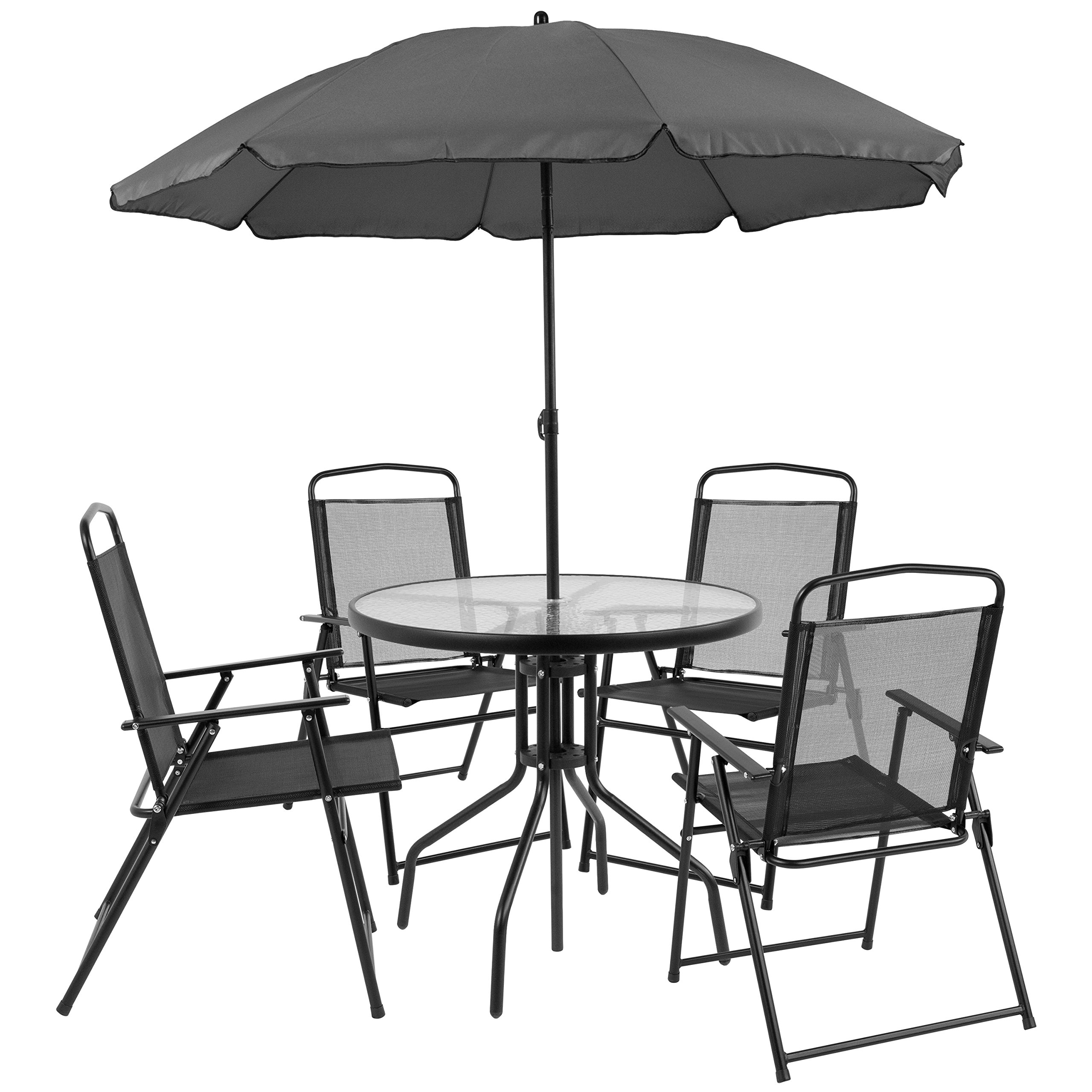 Flash Furniture Nantucket 6 Piece Black Patio Garden Set with Table, Umbrella and 4 Folding Chairs by Flash Furniture
