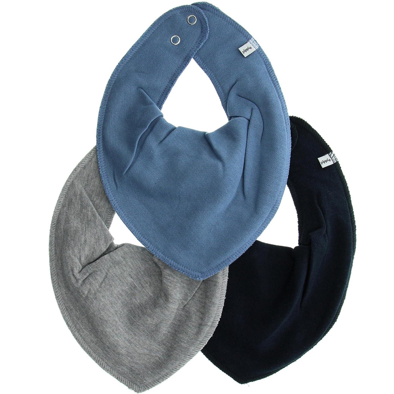 Pippi 3er Pack Baby Unisex Halstuch, One Size, 4449 Farbe: Blau und Grau