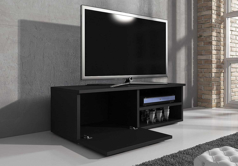 Meuble Tv Meuble Tv Divertissement Meuble Tv Vegas Noir Mat 120 Cm  # Vegas Meuble Tv