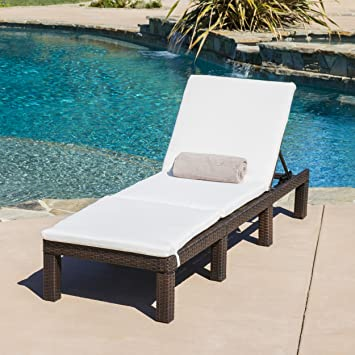 Estrella Outdoor Multibrown Wicker Adjustable Chaise Lounge Chair W/ Cushion