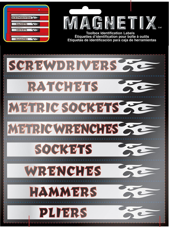 Chroma Graphics 9025 Magnetix Black/Red/Silver 6' x 8' Toolbox Identification Label Kit