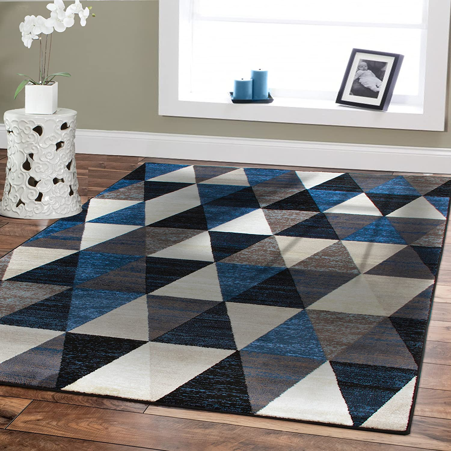 Amazon.com: Premium Large Rugs 8x11 Modern Rugs For Brown Sofa Blue ...