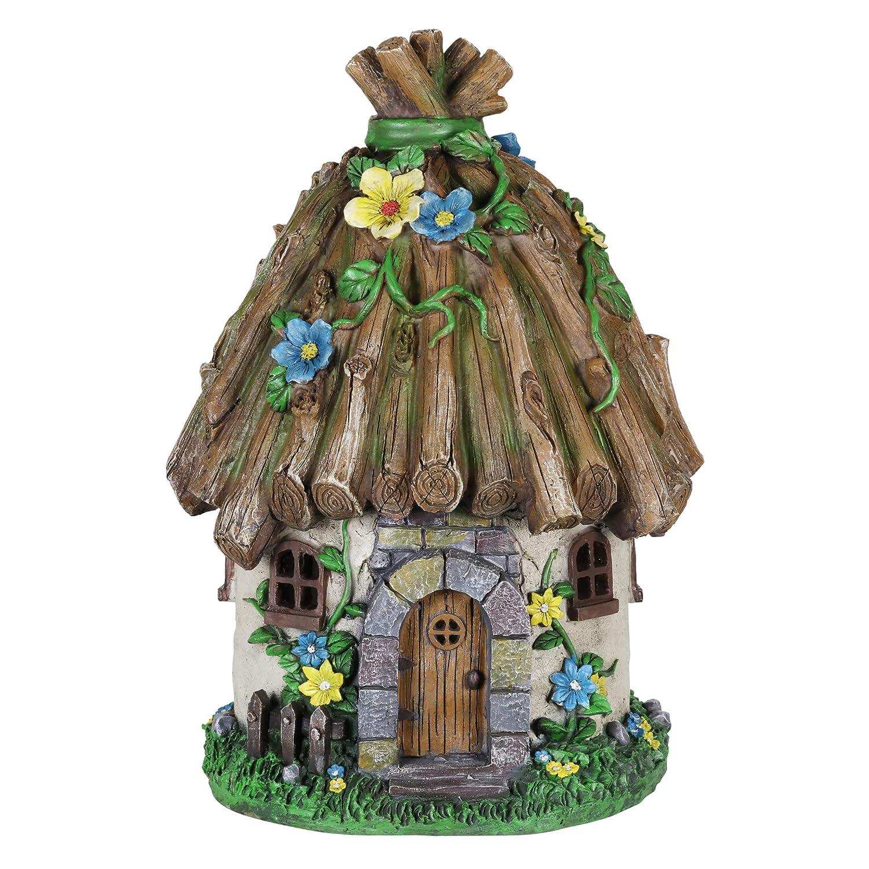 "Exhart Twigs Roof Fairy House Outdoor Decor - Fairy Cottage Resin Statue with Solar Garden Lights, Miniature Fairy Hut Solar Home Decor for a Magical Fairy Garden, 9"" L x 9"" W x 15"" H"