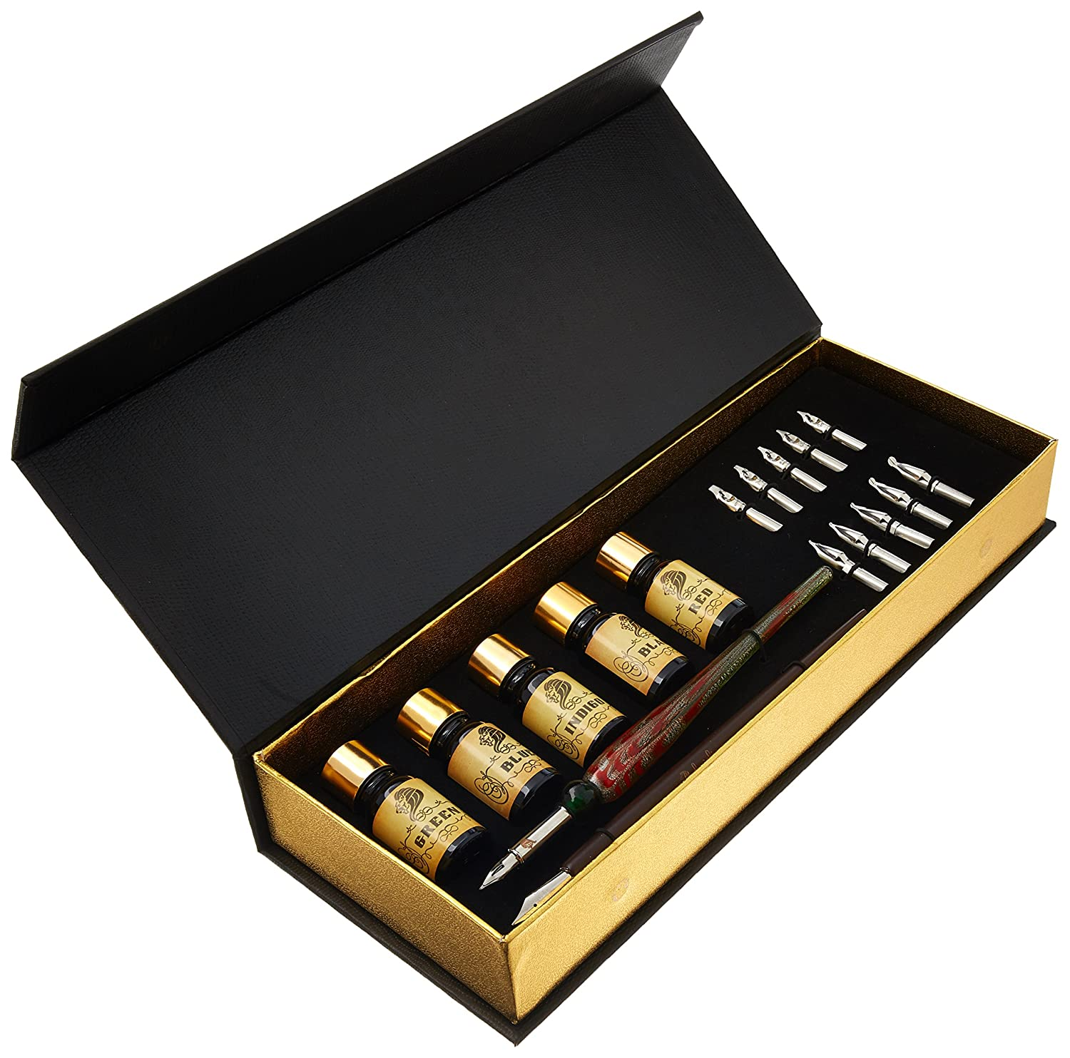 Daveliou Calligraphy Pen Set - 19-Piece Kit - FREE Glass Pen - 12 Nib & 5 Ink Set