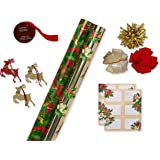 Papyrus Christmas Wrapping Paper Kit with Gridlines, Bows and Gift Tags, Holiday Traditions (11-Count, 120 sq. ft.)