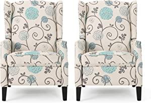 Christopher Knight Home Ellyn Fabric Recliner (Set of 2), Light Beige with Blue Floral, Dark Brown