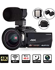 4K Camcorder Video Camera UGOOD Ultra HD WiFi Digital Camera 48MP Touch Screen 16X Digital Zoom Recorder IR Night Vision with Microphone, Wide Angle Lens, LED Video Light and Shoulder bag
