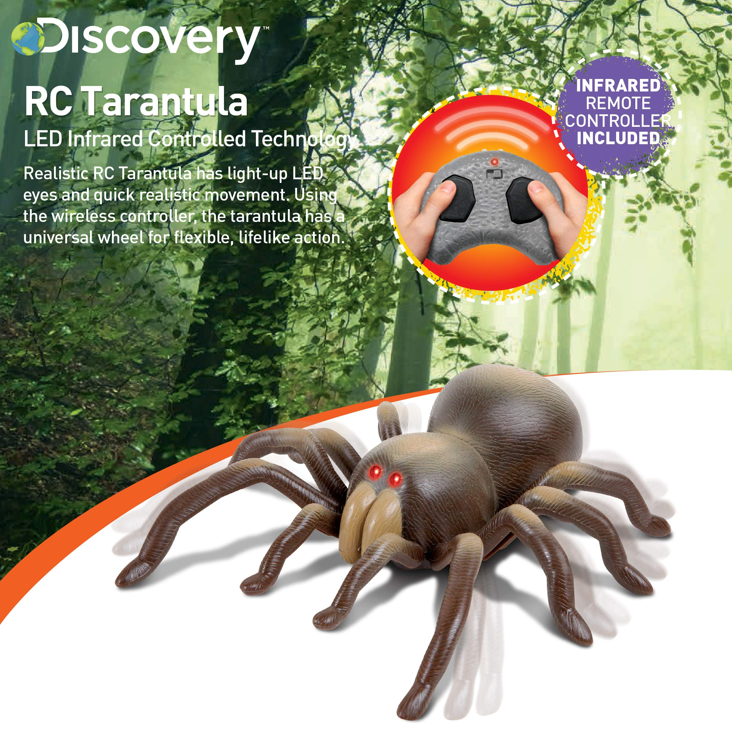 DISCOVERY KIDS RC Moving Tarantula Spider, Wireless Remote Control Toy for Kids, Great for Pranks and Halloween Decorations, Realistic Scurrying Movement, Glowing Scary Red LED Eyes by Discovery Kids (Image #2)