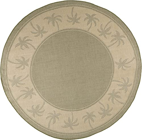 Round Area Rug, 8 Foot Stain Resistant Indoor Outdoor Round Rug With Palm Tree Design By Lavish Home Green and Beige Accent Rug for Home D cor
