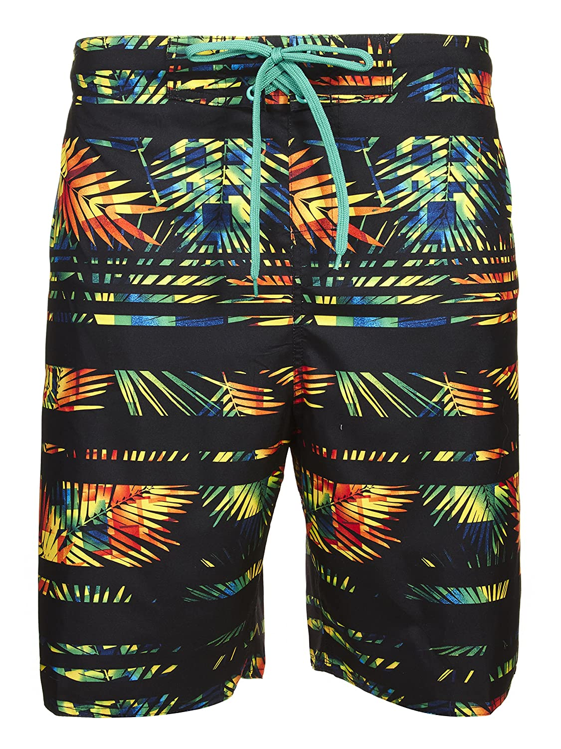 4d7115c41b PALM TREE PRINT board shorts with the comfort of classic pull-on swim trunks  - Features blue and pattern with palm tree designs. AT-KNEE CUT 8.5