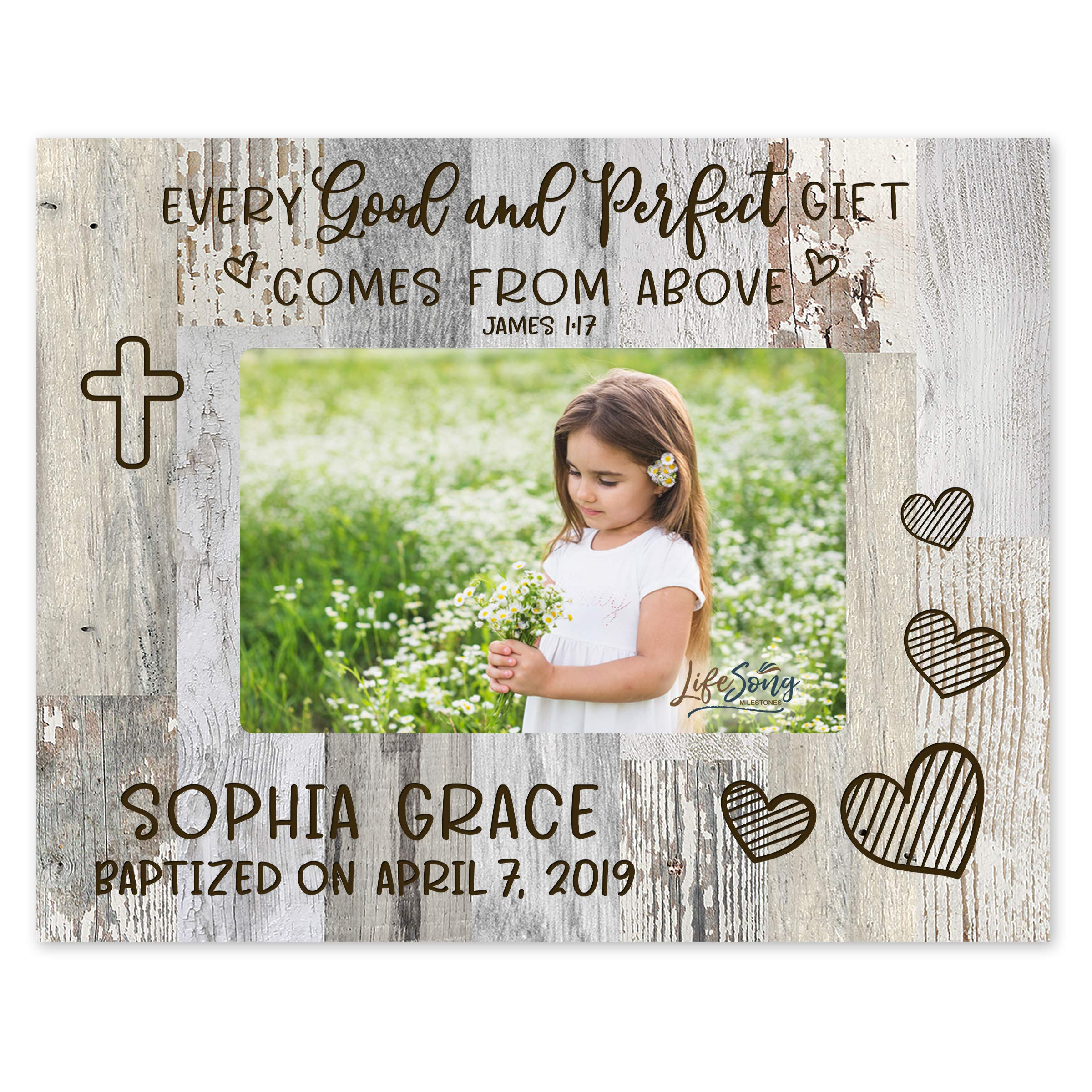 LifeSong Milestones 1st Holy Communion Baptism Photo Frame Baby Baptism Gifts for Boys and Girls Blessing for Child 8'' x 10'' Picture Frame Holds 4'' x 6'' Photo - Good & Perfect (Light Distressed)