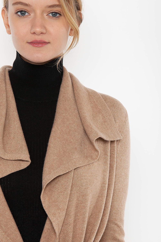 JENNIE LIU - Cardigan da donna in puro cashmere a maniche lunghe con cintura Cammello