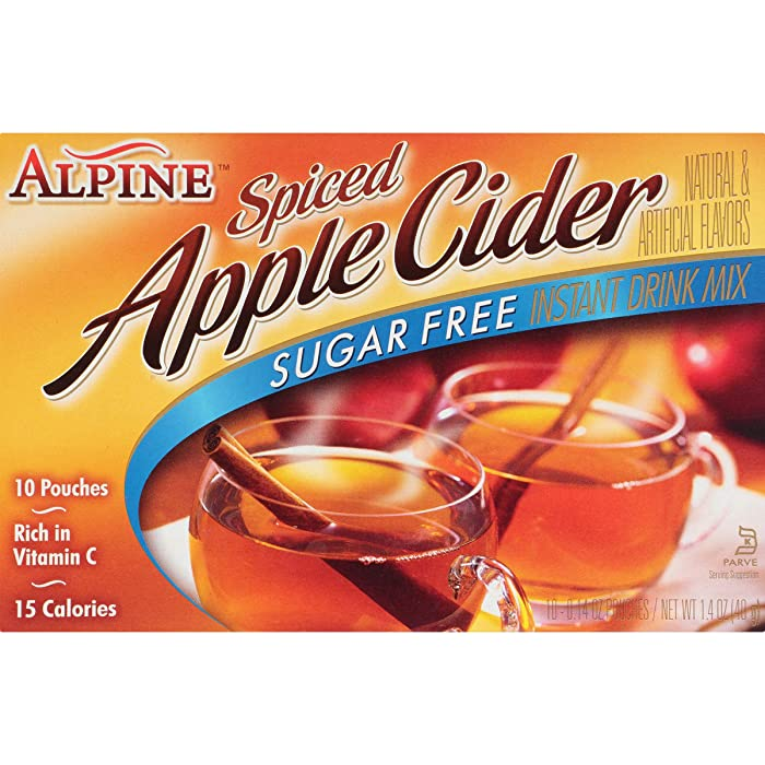 Alpine Spiced Apple Cider Sugar Free Instant Drink Mix (Each 10 Count of 0.14 oz pouches), Pack of 12