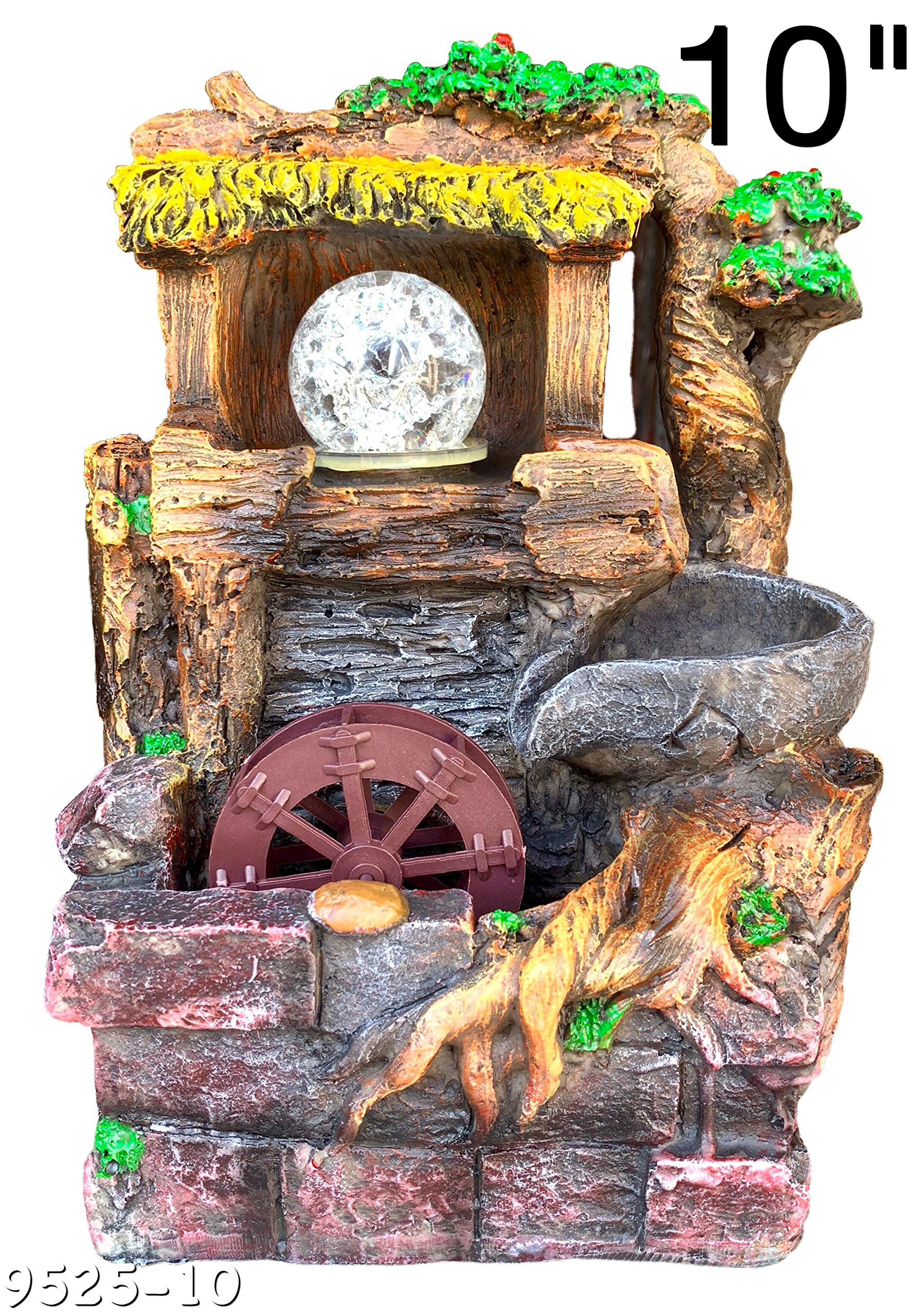 Water Fountain Tree Rolling Ball & Wheel Led Light Indoor/Outdoor Water Pump Included 10'' Inch Statue
