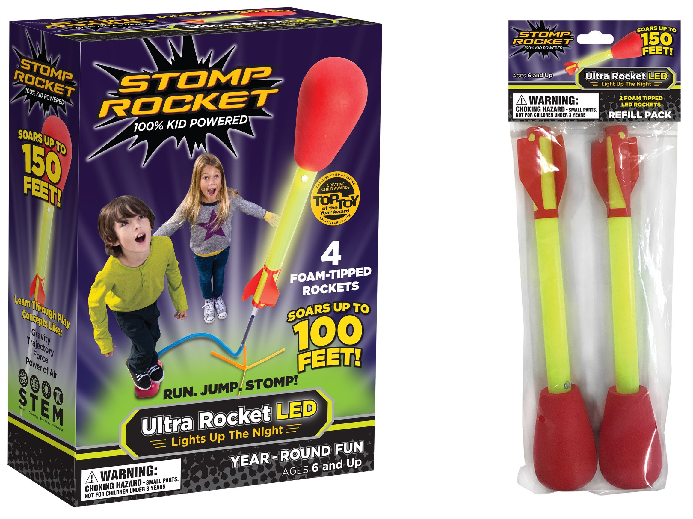 Stomp Rocket Ultra Rocket LED with Ultra Rocket LED Refill Pack, 6 Rockets - Outdoor Rocket Toy for Boys and Girls - Comes with Toy Rocket Launcher - Ages 6 Years Old and Up