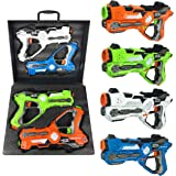 Multiplayer Extreme Infrared Laser Tag Indoor Outdoor Mega Game Set - Indoor Outdoor Toy Lazer Gun Blasters w/ Gift Carrying Case (Set of 4 Players)