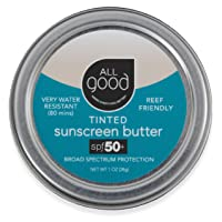 All Good Tinted Mineral Sunscreen Butter - Zinc Oxide - Coral Reef Safe - Water Resistant - UVA/UVB Broad Spectrum - SPF 50+ (Butter)