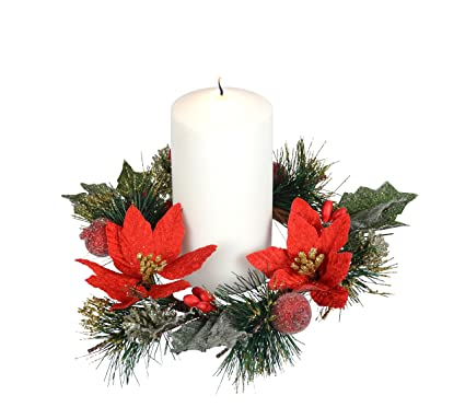 9 inch christmas candle ring with silver and gold glitter red poinsettia blooms and pine - Decorative Christmas Candle Rings