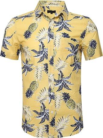 SOOPO Camisa para Hombre con Estampado de Piña Aloha Hawaiian Shirts, Camiseta Amarillo y Cómoda para Verano, XXXL: Amazon.es: Ropa y accesorios