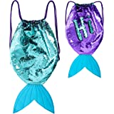 GirlZone: Mermaid Tail Reversible Sequin Drawstring Backpack Bag for Girls, Purple and Turquoise Sequins, Great Gift For Girls