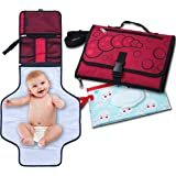 SsdSun Portable Changing Pad – Lightweight and Safe Travel Station Kit for Baby Diapering - Waterproof Padded Extra Long Mat - Built-in Head Pillow – Organizer with 4 Pockets – Bonus Wet Wipe Pouch
