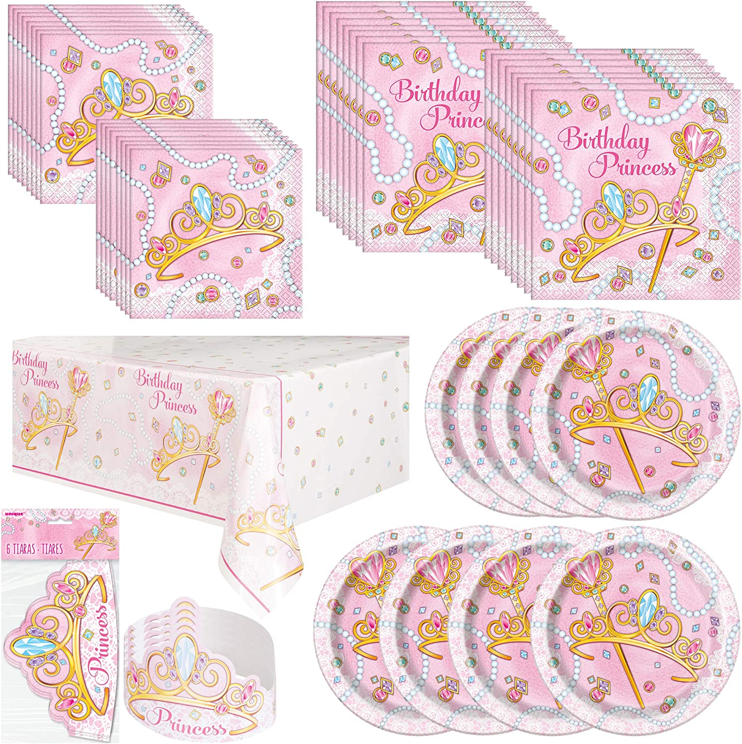 Unique Pink Princess Party Bundle   Luncheon & Beverage Napkins, Plates, Tiaras, Table Cover   Great for Fairytale/Royal Birthday Themed Parties